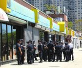 NYPD officers ready to patrol streets on Memorial Day in Brooklyn, NY