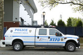 NYPD emergency service unit providing security near National Tennis Center during US Open 2013