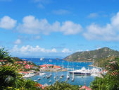 Photo Aerial view at Gustavia Harbor with mega yachts at St Barts, French West Indies