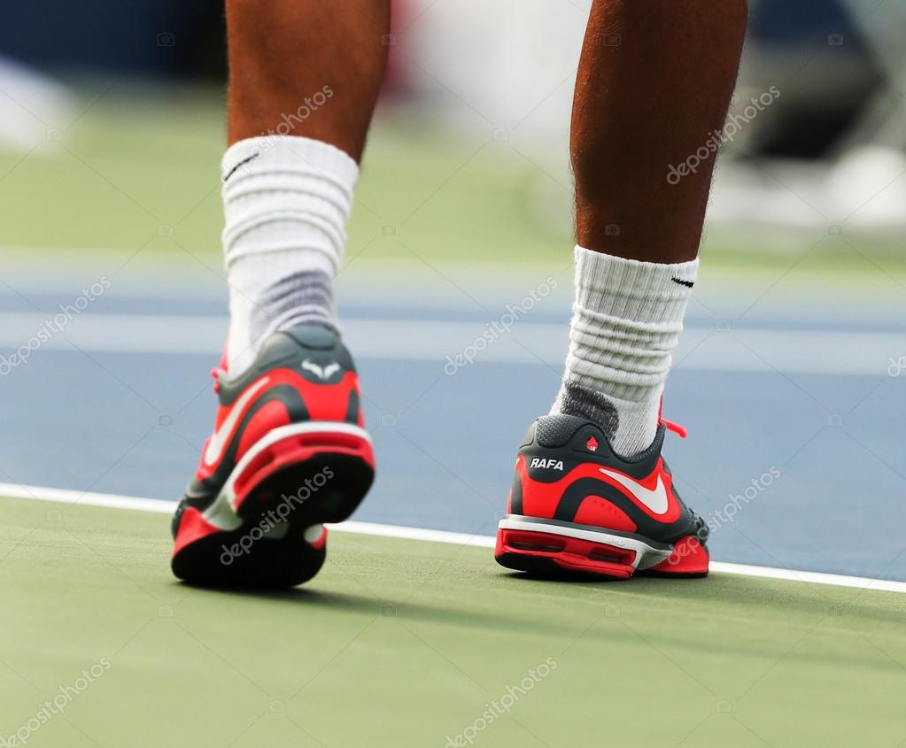 Twelve Times Grand Slam Champion Rafael Nadal Wears Custom Nike Tennis Shoes During Practice For Us Open 2013 Stock Editorial Photo C Zhukovsky 36149889