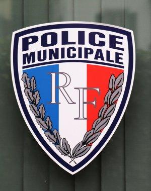 Municipal police sign in Lyon, France