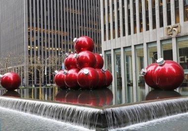Christmas decorations near New York City landmark Radio City Music Hall in Rockefeller Center