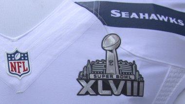 Seattle Seahawks team uniform with Super Bowl XLVIII logo presented during Super Bowl XLVIII week in Manhattan