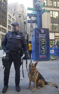 NYPD transit bureau K-9 police officer and K-9 German Shepherd providing security on Broadway during Super Bowl XLVIII week in Manhattan