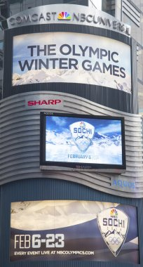 Comcast NBC Universal billboard decorated with Sochi 2014 XXII Olympic Winter Games logo near Times Square in Midtown Manhattan