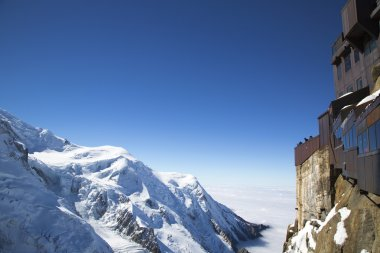 Chamonix terrace overlooking Mont Blanc massif at the mountain top station of the Aiguille du Midi in French Apls