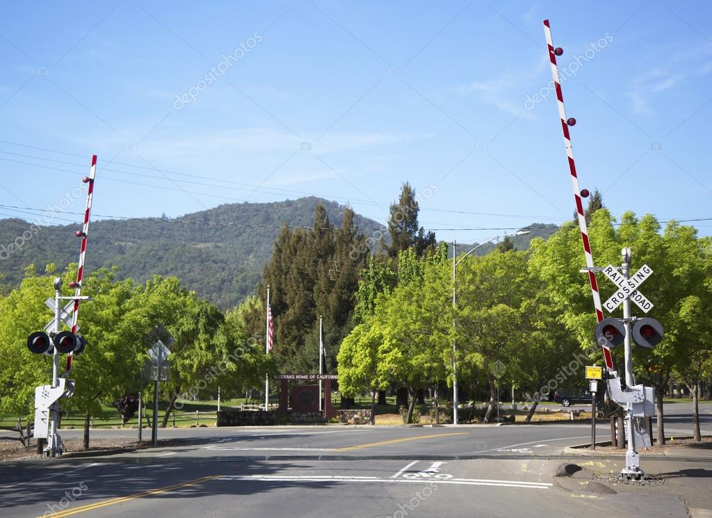 Napa Valley Railroad wine train level crossing in Yountville