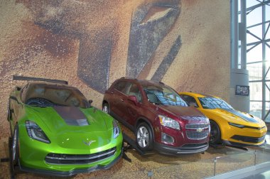 GM cars Chevrolet Camaro, Corvette Stingray C7 concept and Chevrolet Sonic RS Rally Car from new movie Transformers Age of Extinction on display in New York