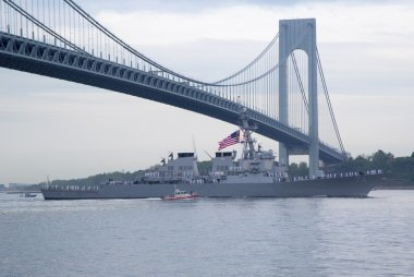 USS McFaul guided missile destroyer of the United States Navy during parade of ships at  Fleet Week 2014