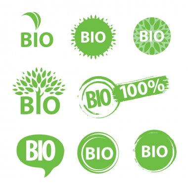 Eco, natural and organic symbols or logos