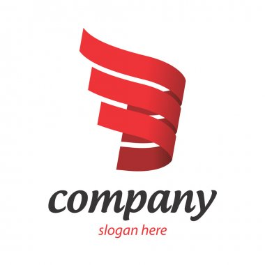 Company logo in red