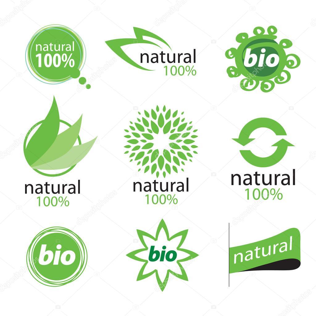 eco natural and organic symbols or logos � stock vector