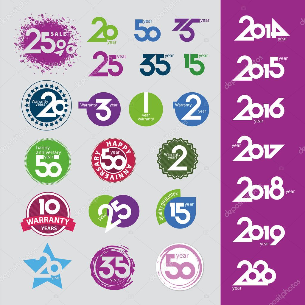 Collection of vector icons with numbers dates anniversaries