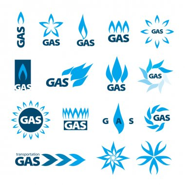 Collection of vector logos of natural gas stock vector