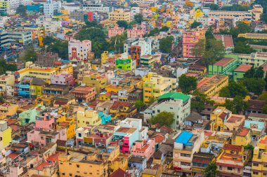 Colorful homes in crowded Indian city Trichy
