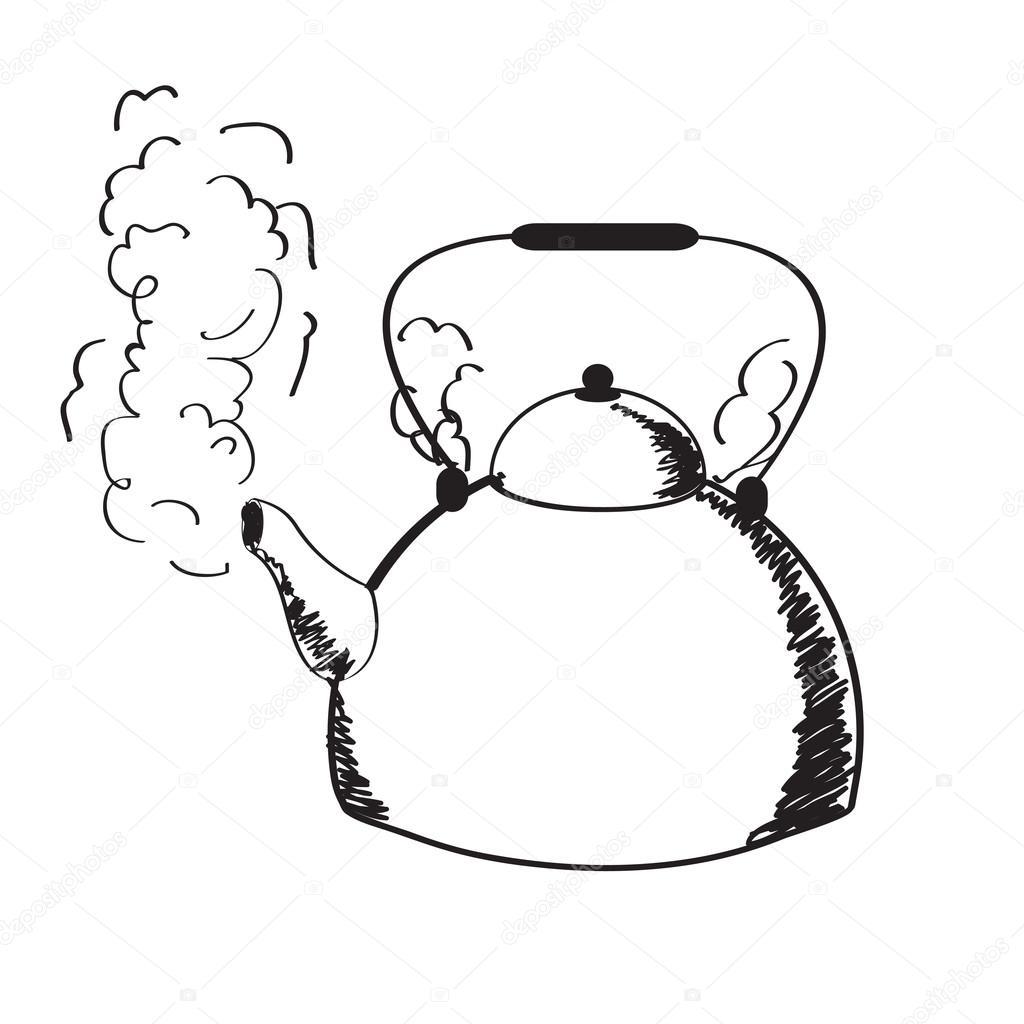 einem kochenden Kessel und Dampf — Stockvektor © Glenofobiya #13311261