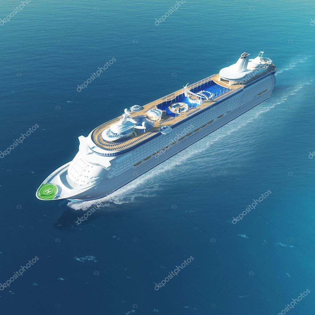 Luxury white cruise ship with heliport and pools sailing on the sea