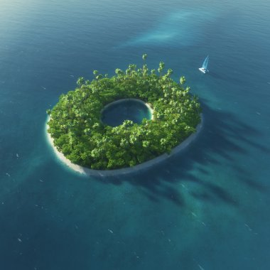 Island Alphabet. Paradise tropical island in the form of letter O