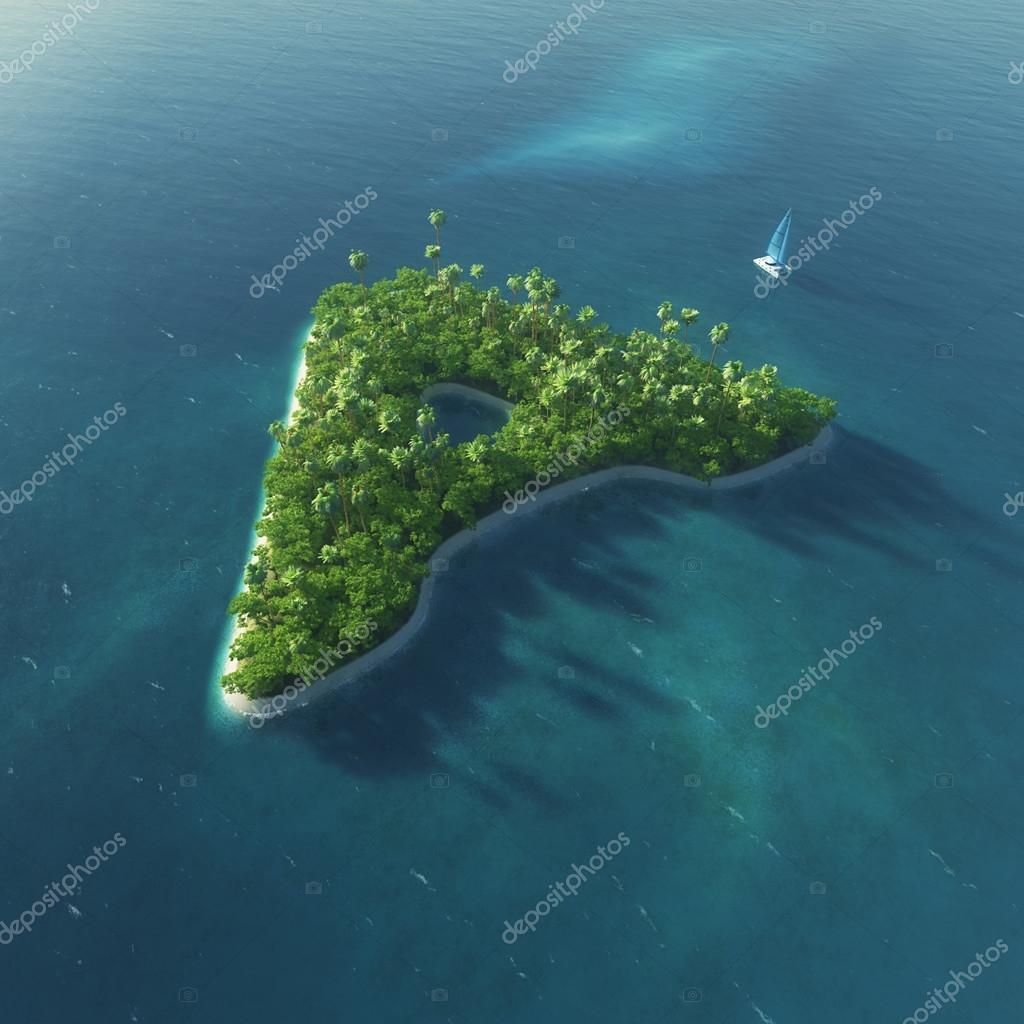 Island Alphabet. Paradise tropical island in the form of letter A
