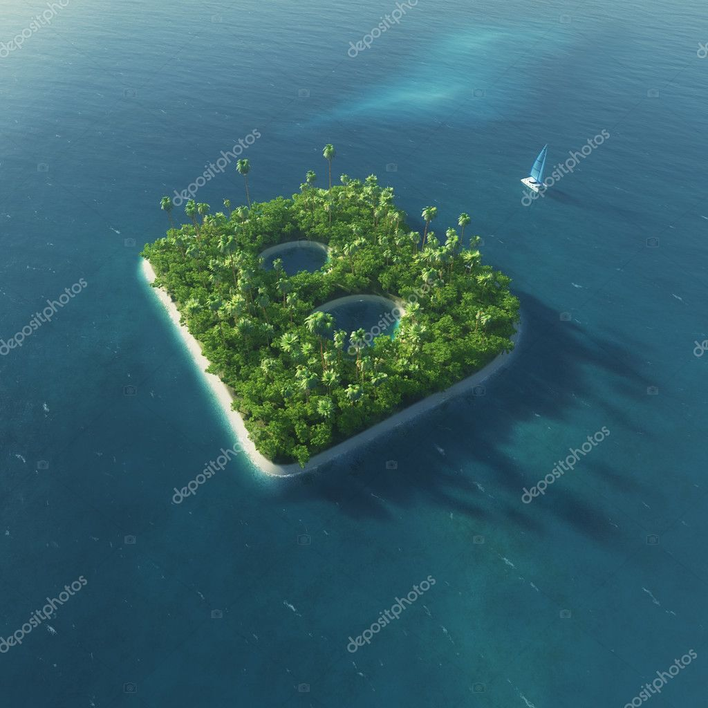 Island Alphabet. Paradise tropical island in the form of letter B