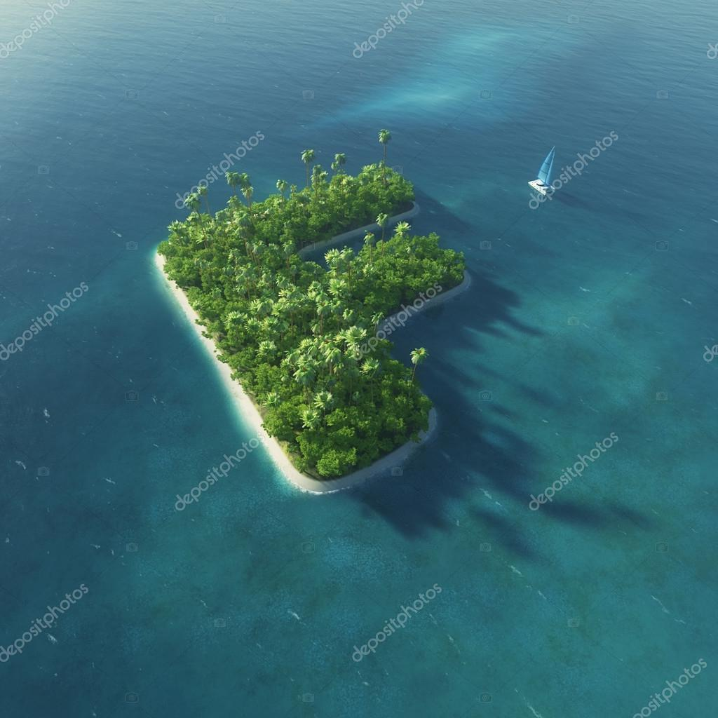 Island Alphabet. Paradise tropical island in the form of letter F