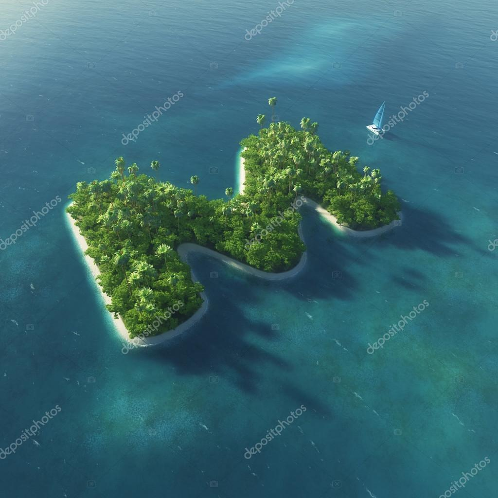 Island Alphabet. Paradise tropical island in the form of letter M