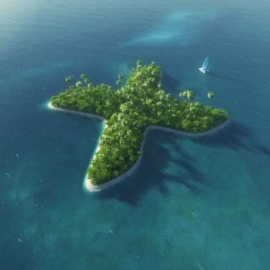 Island Alphabet. Paradise tropical island in the form of letter X
