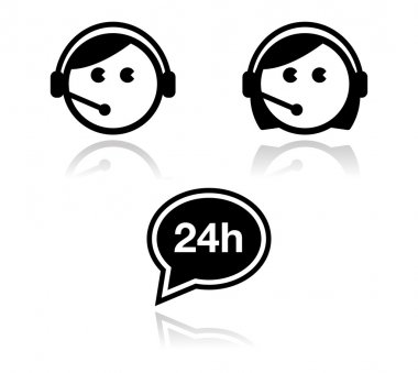 Customer service icons set - call center agents