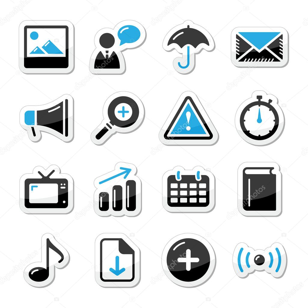Internet website icons set styled as labels - mail, contact, about us, user