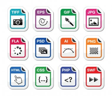 Web file types icons set - jpg, psd, html, css stock vector