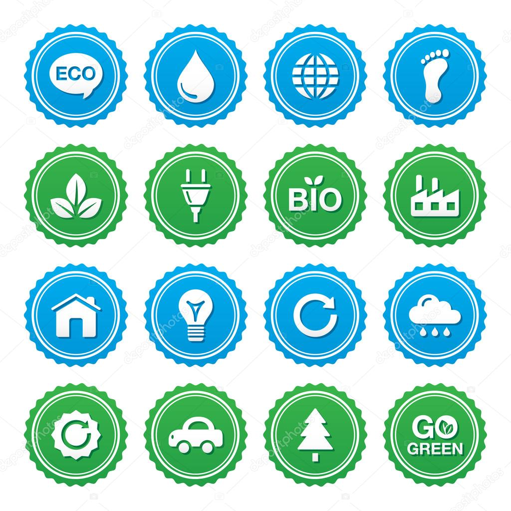 Eco green labels set - ecology, recyling, eco power concept