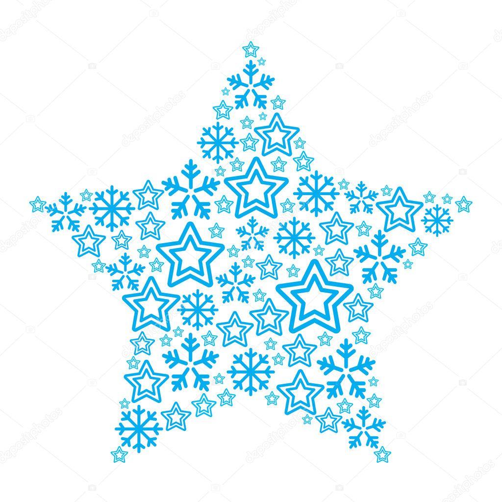 Estrella de navidad de los iconos de estrellas y copos de for Estrella de nieve