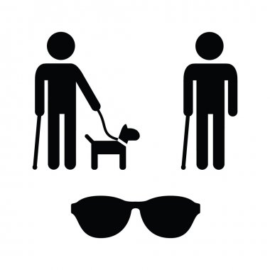 Blind man icons set - with guide dog, walking stick