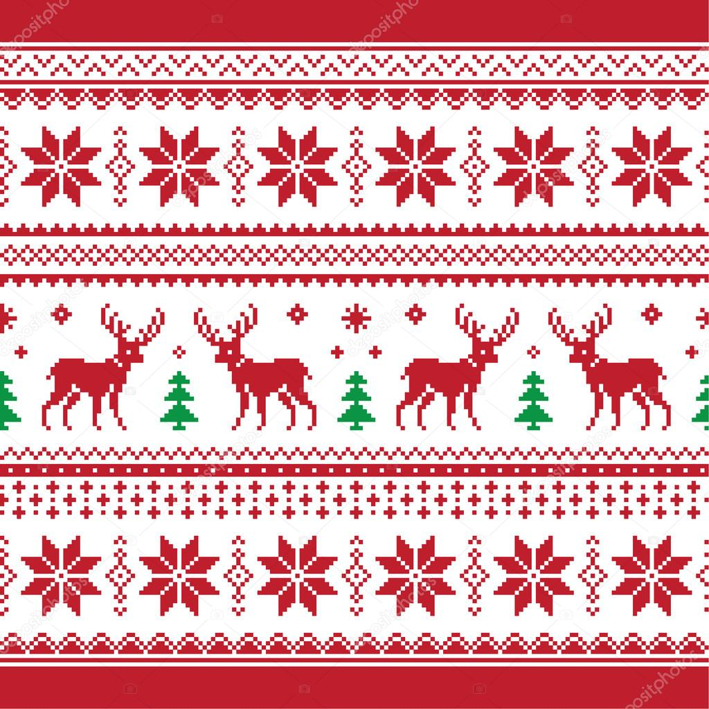 Christmas and Winter knitted seamless pattern or card with deer - scandynavian style