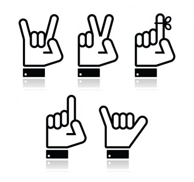 Hand vector gestures, signals and signs - victory, rock, point