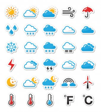 Black icons set - weather conditions, seasons with reflection clip art vector