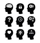 Kopf Gehirn Vektor Icons set
