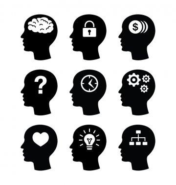 Head brain vector icons set