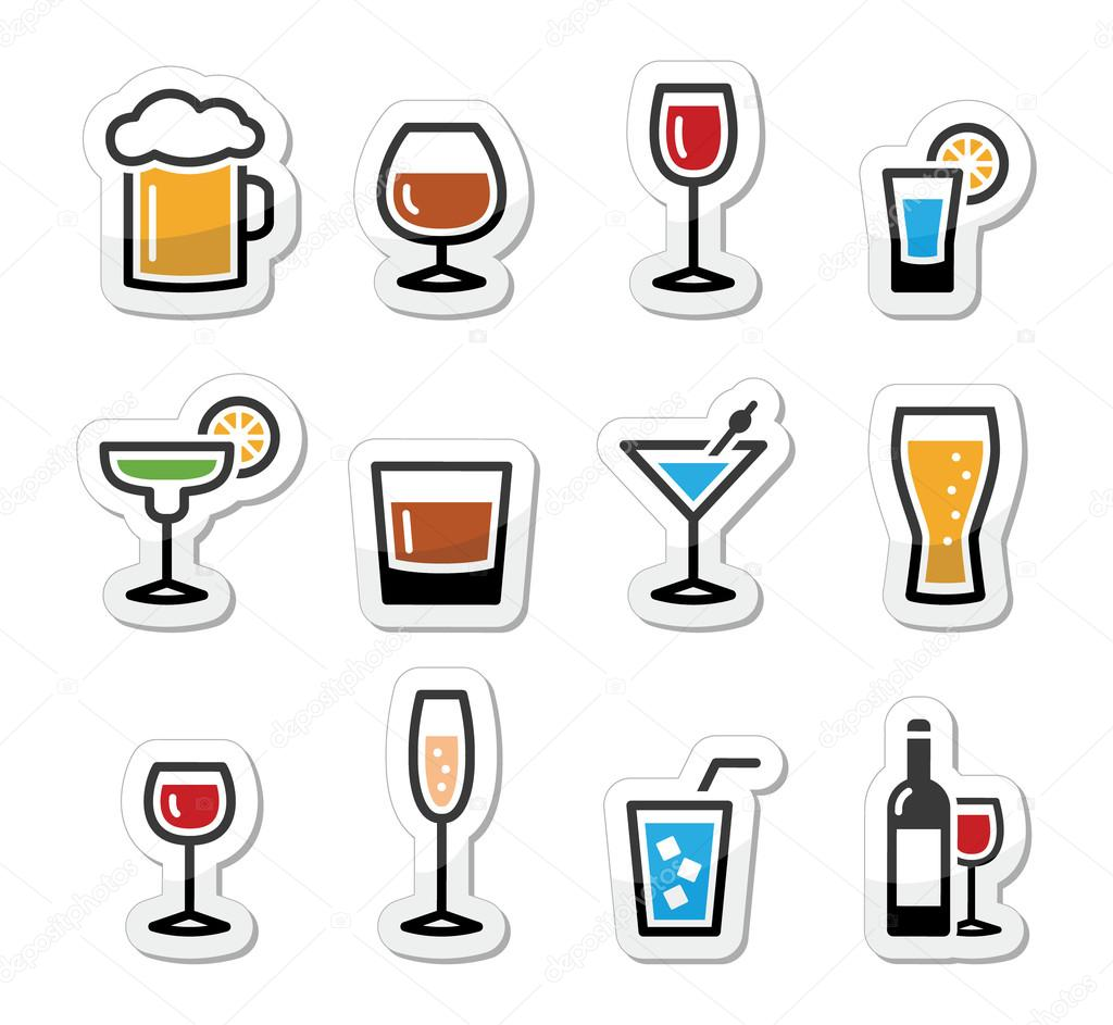 Drink alcohol beverage icons set as labels