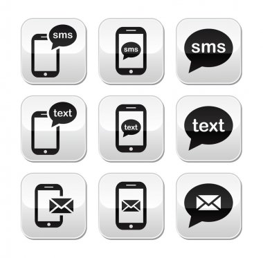 Messaging, sending text messages modern square vector buttons stock vector