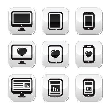 Responsive website design - computer screen, mobile, tablet buttons set