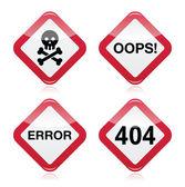 nebezpečí, Jejda, chyba, 404 červené výstražné znamení
