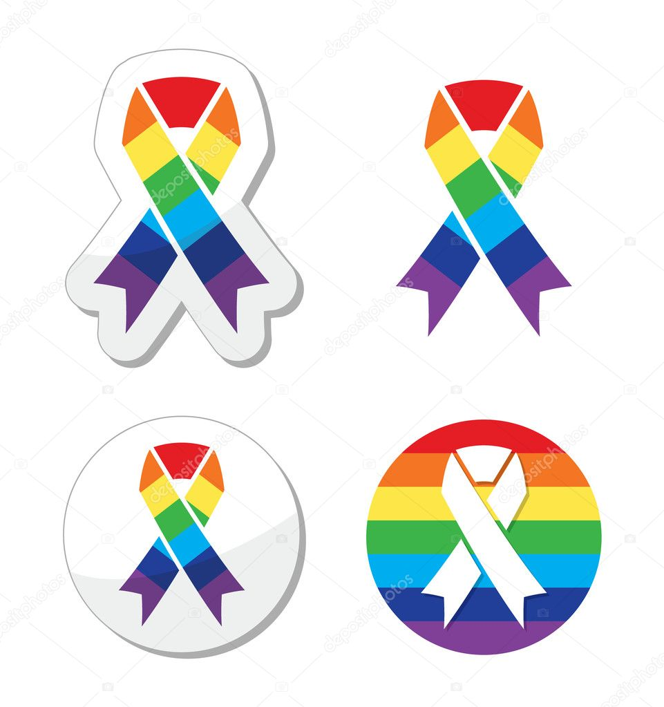 Rainbow flag ribbon symbol of gay pride and support for the glbt ribbons set gay lesbian symbol isoated on white vector by redkoala buycottarizona