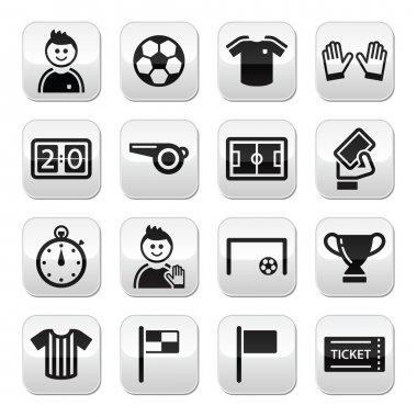 Soccer football vector buttons set