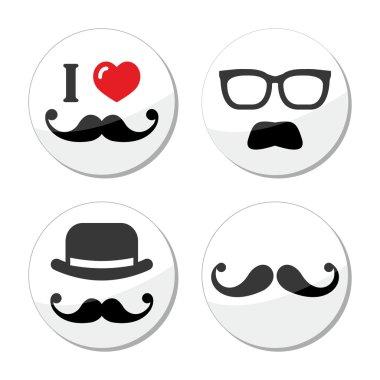 I love mustache, moustache icons set
