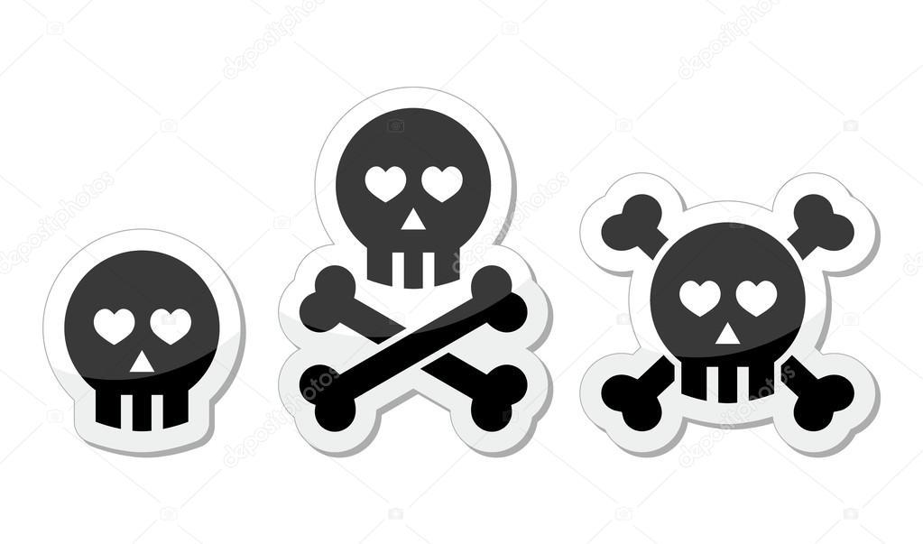 dibujos animados cráneo con huesos y corazones vector icono — Vector ...