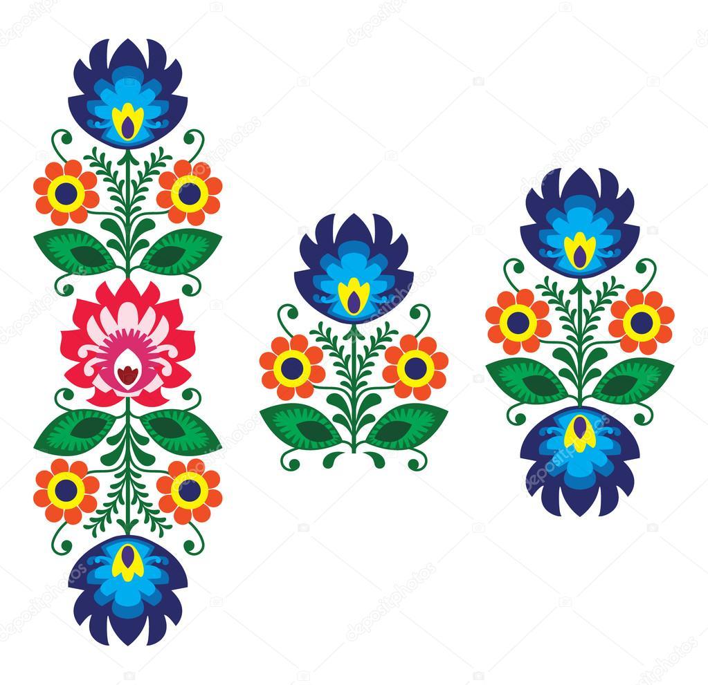 popular bordado con flores - tradicionales polaco patrón — Vector de ...