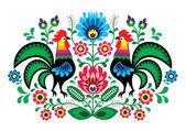 Lengyel virág hímzés, kakas - hagyományos népi minta