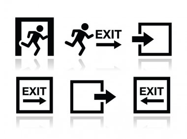 Emergency exit icons vector set