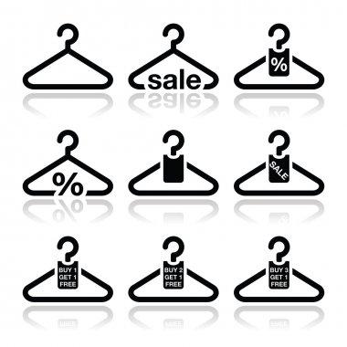 Hanger, sale, buy 1 get 1 free icons set